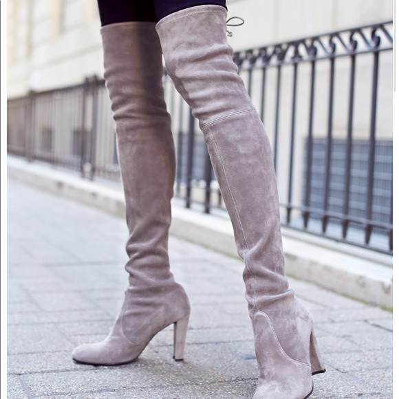 Authentic New Stuart Weitzman Grey Otk Suede Boots Stuart Weitzman Grey Knee High Boots Shoes
